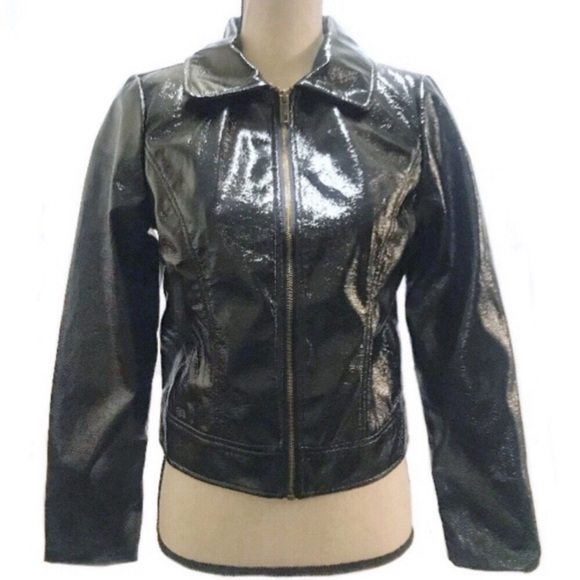 Who What Wear Jackets & Blazers - Who What Where Faux Patent Leather Black Jacket Sm